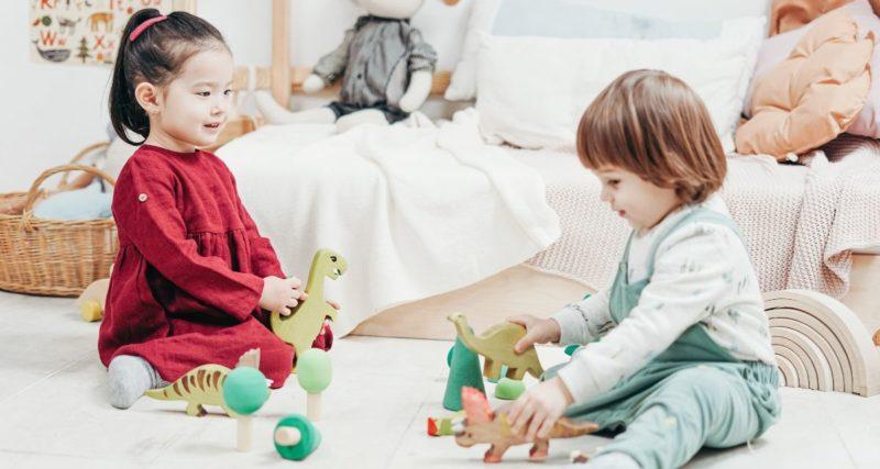 子供がおもちゃで遊ぶ
